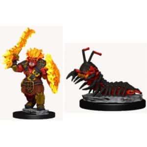WizKids Wardlings Painted Miniatures - Fire Orc & Fire Centipede