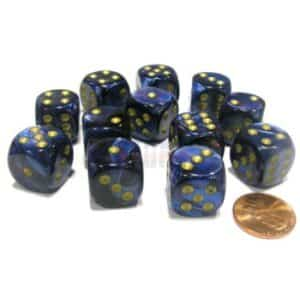 Chessex 16mm D6 with pips Dice Blocks (12 Dice) - Scarab Royal Blue with gold