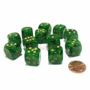 Chessex 16mm D6 with pips Dice Blocks (12 Dice) - Vortex Green with gold
